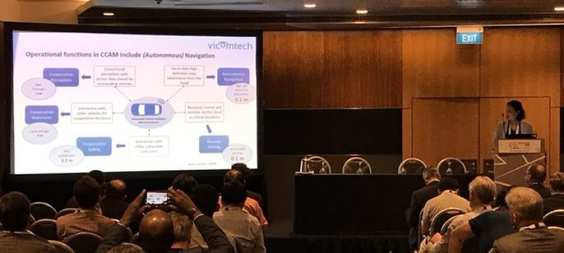 Oihana Otegui presenting VicomTech's views on cooperative perception and ADAS impact at the associated event about 5G and IoT at the ITS Singapore